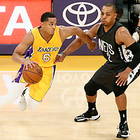 15 November 2016: Los Angeles Lakers guard Jordan Clarkson (6) drives past Brooklyn Nets guard Randy Foye (2) during the LA Lakers 125-118 victory over the Brooklyn Nets, at the Staples Center, Los Angeles, California, USA.