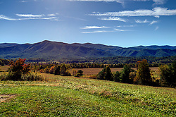 Landscape scenic view of the Great Smokey Mountains from inside the National Park at Cades Cove.