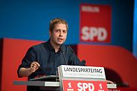 DEU, Deutschland, Germany, Berlin, 01.06.2018: Der Juso-Bundesvorsitzende Kevin Kühnert beim Landesparteitag der Berliner SPD im Hotel Andels.