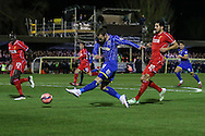 Sean Rigg of AFC Wimbledon shoots during the FA Cup match at the Cherry Red Records Stadium, Kingston<br /> Picture by David Horn/Focus Images Ltd +44 7545 970036<br /> 05/01/2015