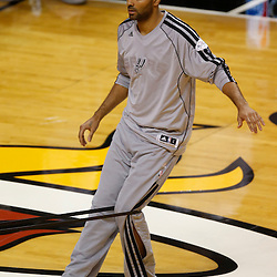 Jun 20, 2013; Miami, FL, USA; San Antonio Spurs point guard Tony Parker stretches prior to facing the Miami Heat in game seven of the 2013 NBA Finals at American Airlines Arena. Mandatory Credit: Derick E. Hingle-USA TODAY Sports