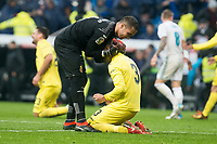 Villarreal Sergio Asenjo and Alvaro Gonzalez celebrating the victory during La Liga match between Real Madrid and Villarreal CF at Santiago Bernabeu in Madrid, Spain. January 13, 2018. (ALTERPHOTOS/Borja B.Hojas)