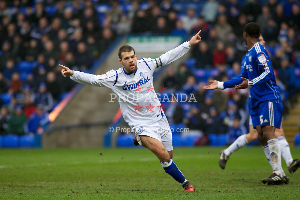 PETERBOROUGH, ENGLAND - Saturday, February 19, 2011: Tranmere Rovers' John Welsh goal gives his team a 1-0 lead against Peterborough United during the Football League One match at London Road. (Photo by Gareth Davies/Propaganda)