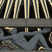 Art Deco Sculptural relief above the entrance to 45  Rockefeller Plaza building. Rockefeller Center, Manhattan by Oscar Bach.