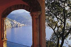 Europe, Italy, Salerno, Amalfi Coast, sunset viewed through trellis over the Tyrrhenian Sea