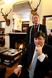 UK ENGLAND LONDON 15JAN09 - General Manager Peter Smith (R) and Head Tailor Patrick Murphy of The Huntsman tailors in Saville Row, London pose for a photo at their shop in central London...jre/Photo by Jiri Rezac