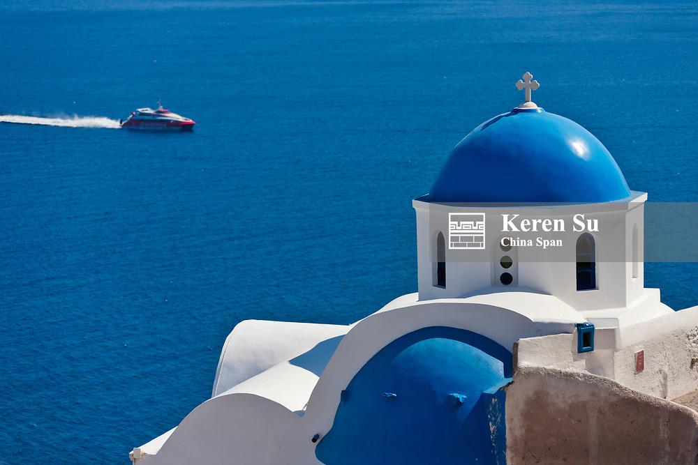 Church on the coast of Aegean Sea, Oia, Santorini Island, Greece