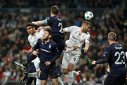 08.12.2015, Estadio Santiago Bernabeu, Madrid, ESP, UEFA CL, Real Madrid vs Malmoe FF, Gruppe A, im Bild Real Madrid´s Danilo and Karim Benzema and Malmo´s Rakip // during the UEFA Champions League group A match between Real Madrid and Malmoe FF at the Estadio Santiago Bernabeu in Madrid, Spain on 2015/12/08. EXPA Pictures © 2015, PhotoCredit: EXPA/ Alterphotos/ Victor Blanco<br /> <br /> *****ATTENTION - OUT of ESP, SUI*****