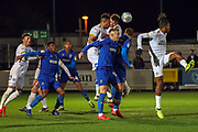 Peterborough United defender Rhys Bennett (16) clearing the ball during the EFL Sky Bet League 1 match between AFC Wimbledon and Peterborough United at the Cherry Red Records Stadium, Kingston, England on 12 March 2019.