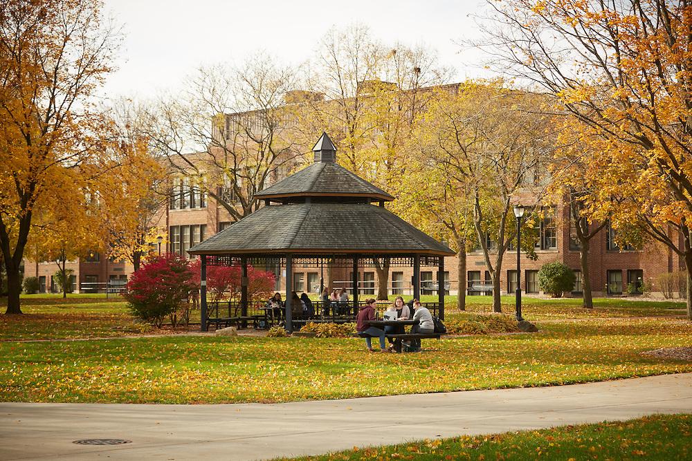 Location; Outside; UWL UW-L UW-La Crosse University of Wisconsin-La Crosse; Gazebo; Studying; Fall; Buildings; Morris Hall