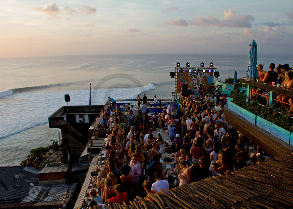 NZ band six 60 play live at the Single Fin Bar at the famous surf spot Uluwatu in Bali, Indonesia