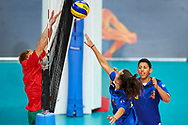 Katowice, Poland - 2017 September 02: (R) Partner Alessia Siciliano from SO Italy spikes the ball while SO Italy versus SO Belarus during European Unified Volleyball Tournament 2017 at Spodek Hall on September 02, 2017 in Katowice, Poland.<br /> <br /> Adam Nurkiewicz declares that he has no rights to the image of people at the photographs of his authorship.<br /> <br /> Picture also available in RAW (NEF) or TIFF format on special request.<br /> <br /> Any editorial, commercial or promotional use requires written permission from the author of image.<br /> <br /> Image can be used in the press when the method of use and the signature does not hurt people on the picture.<br /> <br /> Mandatory credit:<br /> Photo by © Adam Nurkiewicz / Mediasport
