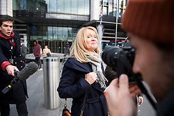 © Licensed to London News Pictures. 10/12/2018. London, UK. Conservative MP ESTHER MCVEY is questioned by media as she leaves a Conservative Friends of Israel event in central London. Mrs May is expected to call off tomorrows withdrawal agreement vote when she speaks in the House of Commons later. Photo credit: Ben Cawthra/LNP