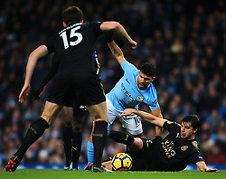 Sergio Aguero of Manchester City is tackled by Aleksandar Dragovic of Leicester City - Mandatory by-line: Matt McNulty/JMP - 10/02/2018 - FOOTBALL - Etihad Stadium - Manchester, England - Manchester City v Leicester City - Premier League