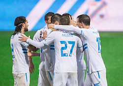 Players of Rijeka celebrate after Josip Elez of HNK Rijeka scored first goal for Rijeka during football match between HNK Rijeka and HNK Hajduk Split in Round #15 of 1st HNL League 2016/17, on November 5, 2016 in Rujevica stadium, Rijeka, Croatia. Photo by Vid Ponikvar / Sportida