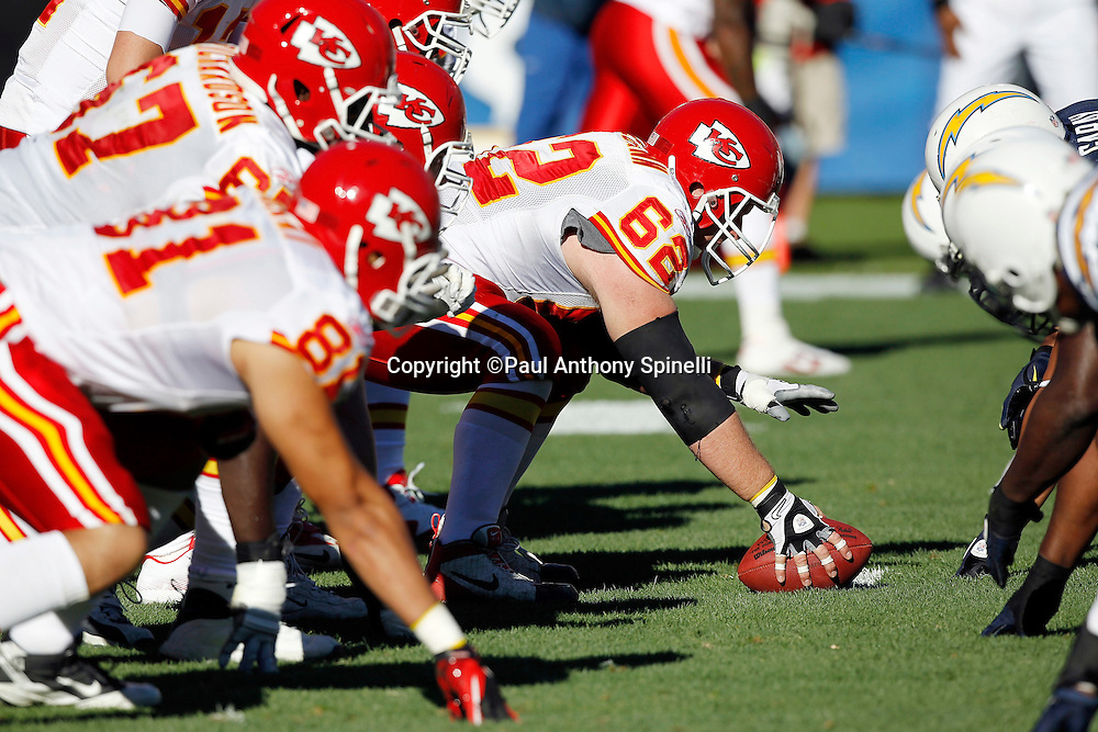 Kansas City Chiefs center Casey Wiegmann (62) gets set to snap the ball at the line of scrimmage during the NFL week 14 football game against the San Diego Chargers on Sunday, December 12, 2010 in San Diego, California. The Chargers won the game 31-0. (©Paul Anthony Spinelli)