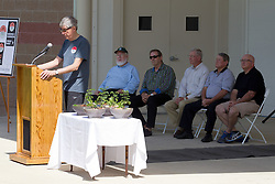 10 May 2014:  Normal Mayor Greg Koos at podium  25th anniversary celebration of the Constitution Trail ceremony at Connie Link Amphitheater in Normal Illinois