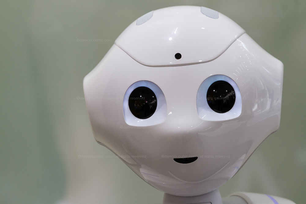 Pepper Robot portrait at the Softbank store in Omotesando, Tokyo, Japan. Friday September 19th 2014
