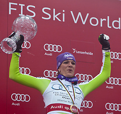 19.03.2011, Pista Silvano Beltrametti, Lenzerheide, SUI, FIS Ski Worldcup, Finale, Lenzerheide, Podium, im Bild Gesamtweltcup Siegerin, Damen, Maria Riesch (GER) // Overall Weltcup Winner, Women, Maria Riesch (GER) during Men´s Downhill, at Pista Silvano Beltrametti, in Lenzerheide, Switzerland, 19/03/2011, EXPA Pictures © 2011, PhotoCredit: EXPA/ J. Feichter