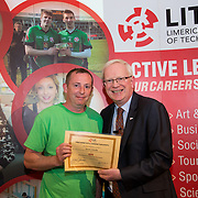 24.05.2017      <br /> LIT GO4IT and GIVE Volunteer Awards 2017. Pictured receiving their GIVE Award from Prof. Vincent Cunnane, President LIT was Kevin Connolly. Picture: Alan Place.