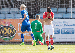 RHYL, WALES - Saturday, September 2, 2017: Wales' Robbie Burton dejected after Iceland's fourth goal during an Under-19 international friendly match between Wales and Iceland at Belle Vue. (Pic by Gavin Trafford/Propaganda)
