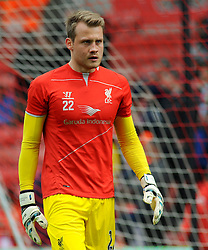 Liverpool's Simon Mignolet - Photo mandatory by-line: Nizaam Jones/JMP - Mobile: 07966 386802 - 24/05/2015 - SPORT - Football - Stoke - Britannia Stadium - Stoke City v Liverpool - Barclays Premier League