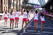 The 'Venus Embrace Closest Stiletto Relay' in Sydney on September 28, 2010. Paul Lovelace Photography. An official world record was set at the event for the fastest ever 4 x 100m stiletto relay, which saw women in teams of four running in stilettos with a minimum height of 3 inches, to help raise funds to find a cure for breast cancer.. . An instant sale option is available where a price can be agreed on image useage size. Please contact me if this option is preferred.