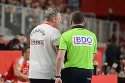 Nicolaj Jacobsen, head coach of Denmark during handball match between National teams of Germany and Denmark on Day 4 in Main Round of Men's EHF EURO 2018, on January 21, 2018 in Arena Varazdin, Varazdin, Croatia. Photo by Mario Horvat / Sportida