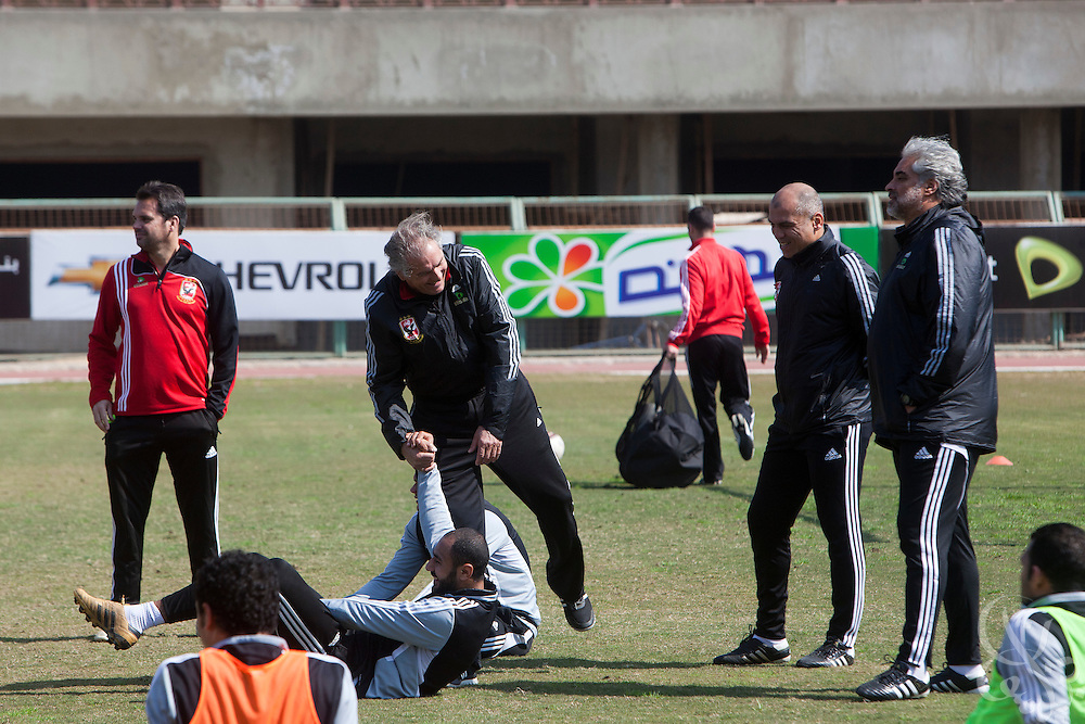 Manuel Jose, (c) the Portuguese Coach of the Egyptian football team Al-Ahly jokes with members of his squad during a Feb 20, 2012 practice at the Ahly club stadium in Cairo, Egypt. Jose returned to Egypt Feb 16 to resume his job of coach of Al-Ahly in the wake of post-football match violence February 2nd, 2012 that killed 74 and injured hundreds more in the Port Said, Egypt stadium.  (Photo by Scott Nelson)