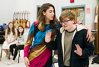 """Cleopatra"" O. Burwell and ""William Shakespeare"" during rehearsal at Belmont High School for their upcoming one-act ""While Shakespeare Slept""  Wednesday afternoon.  (Karen Bobotas/for the Laconia Daily Sun)"