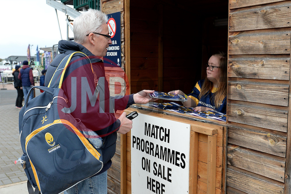 Fans purchase programmes at Sixways Stadium - Mandatory by-line: Dougie Allward/JMP - 22/10/2016 - RUGBY - Sixways Stadium - Worcester, England - Worcester Warriors v Brive - European Challenge Cup