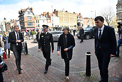 © Licensed to London News Pictures. 15/03/2018. Salisbury, UK. British Prime Minister THERESA MAY is seen near Zizzi during a visit to Salisbury, Wiltshire where Former Russian spy Sergei Skripal and his daughter Yulia were found after being poisoned with nerve agent. The couple where found unconscious on bench in Salisbury shopping centre. A policeman who went to their aid is currently recovering in hospital. Photo credit: Ben Cawthra/LNP