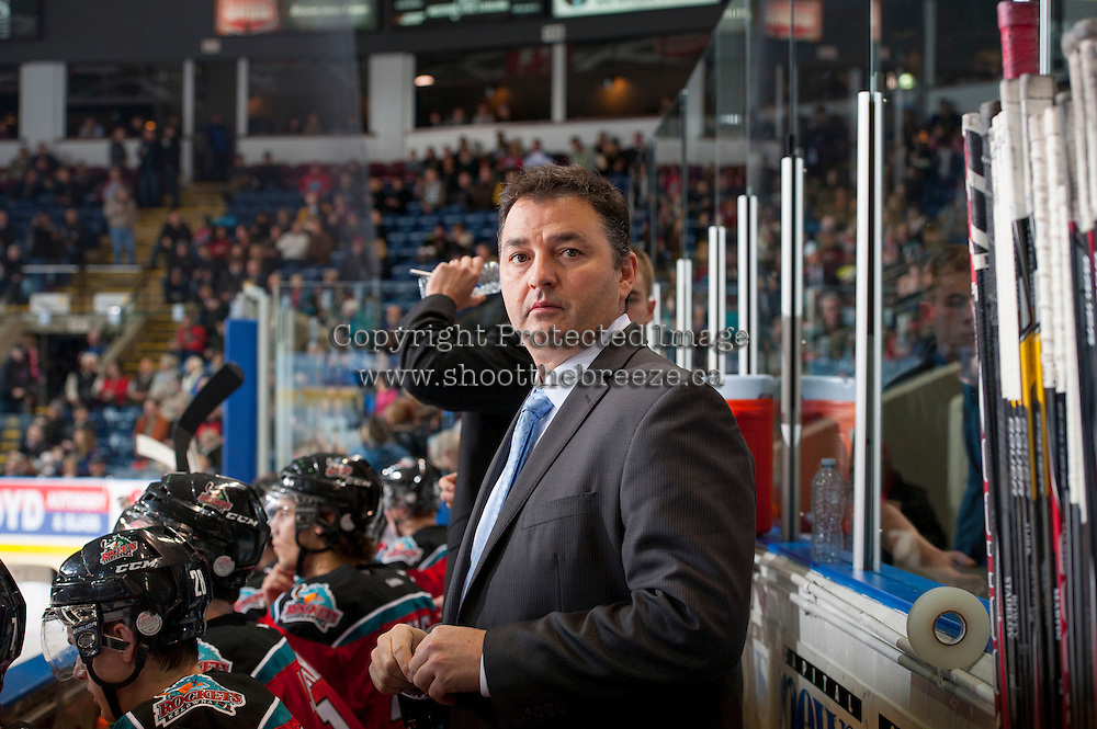 KELOWNA, CANADA - DECEMBER 6: Dan Lambert, assistant coach of the Kelowna Rockets stands on the bench opposite against the Everett Silvertips on December 6, 2013 at Prospera Place in Kelowna, British Columbia, Canada.   (Photo by Marissa Baecker/Shoot the Breeze)  ***  Local Caption  ***