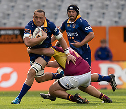 Otago's Sione Teu, left, makes a run against Southland in the Mitre 10 Cup rugby match, Forsyth Barr Stadium, Dunedin, New Zealand, Sunday, October 14 2017.  Credit:SNPA / Adam Binns ** NO ARCHIVING**