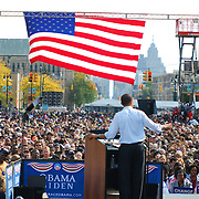 Barack Obama Rally in front of the Detroit Public Library<br /> U.S. Sen. Barack Obama (D-IL), addresses the crowd at his Detroit rally, in front of the Detroit Public Library on Sunday, September 28, 2008.