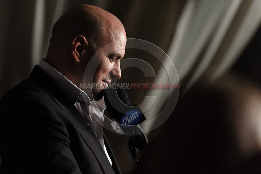 "MANCHESTER, ENGLAND, NOVEMBER 14, 2009: UFC president Dana White addresses the media during the post-fight press conference for ""UFC 105: Couture vs. Vera"" inside the MEN Arena in Manchester, England"