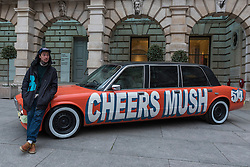 "© Licensed to London News Pictures. 26/01/2017. London, UK. ""Chavy boy"", a decorated Daimler XJ6, by Thomas Langley is on display at ""Premiums Interim Projects"", an exhibition of new work by 13 second year students at the Royal Academy, Piccadilly, who are at the interim point of their postgraduate study at RA Schools, the UK's longest established art school. Photo credit : Stephen Chung/LNP"
