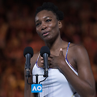 Venus Williams of the United States after the women's final on day thirteen of the 2017 Australian Open at Melbourne Park on January 28, 2017 in Melbourne, Australia.<br /> (Ben Solomon/Tennis Australia)
