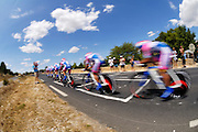 France, Grabels, 7 July 2009: The Lampre team drive on up the hill at  Grabels during Stage 4 of the 2009 Tour de France cycle race. This stage was the Team Time Trial and started and ended in Montpellier and was 39km long. Photo by Peter Horrell / http://peterhorrell.com .