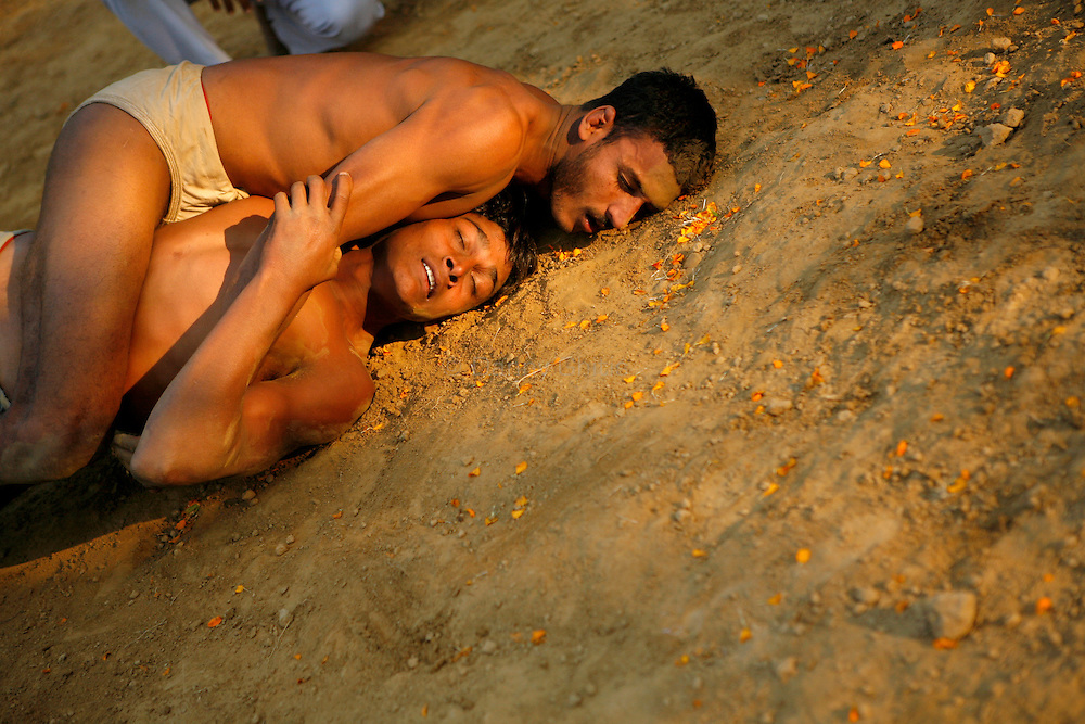 The fighters give in after an exhausting few minutes of grappling. The ancient tradition of Indian wrestling, known as  kushti, thrives in Varanasi, one of the world's oldest cities. Wrestling gyms, or akhara, scattered around the city are of the few places where Hindu men from different casts are considered equals. Aside from bodybuilding, practiioners emphasize a life of discipline and celibacy. But as modernity sweeps India and Western sports like cricket become more popular, some akhara are being abandoned. While some prominent, government-run gyms switched to mats for Olympic-style wrestling, akhara in villages and towns maintain the old ways.