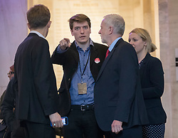© Licensed to London News Pictures. 11/05/2017. London, UK. Jeremy Corbyn talks to his advisors Seumas Milne (L) and James Schneider before facing reporters waiting outside a Labour Party clause IV meeting held to discuss the Labour Party general election manifesto.   A draft of the Labour election manifesto had been leaked to two national newspapers. Photo credit: Peter Macdiarmid/LNP
