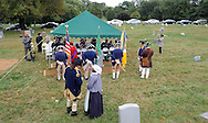 "SHANNAH08P<br /> Euell Aira Nielsen (right foreground) of Lansdowne, Pennsylvania, portraying Hannah Till, speaks with Samuel Davis (left foreground) of Chesterfield, New Jersey portraying George Washington during a dedication ceremony honoring Hannah TillSaturday October 3, 2015 at Eden Cemetery in Collingdale, Pennsylvania. Hannah Till, a free black woman and unsung hero of the Revolutionary War who worked for Gens. George Washington and Lafayette is being honored as a ""Patriot"" by the Daughters of the American Revolution with a special ceremony and headstone dedication at Eden Cemetery, a historically-black cemetery in Collingdale. (William Thomas Cain/For The Inquirer)"