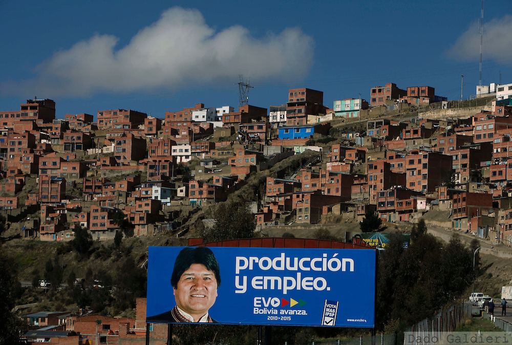 "A banner supporting presidential candidate and current President Evo Morales reads in Spanish ""Production and employment"" in La Paz, Monday, Nov. 30 , 2009.  Bolivia will hold general elections on Dec. 6."