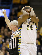 Marquette's Davante Gardner(54) reacts as he is called for a foul against Pittsburgh during the first half of an NCAA college basketball game Saturday, Feb. 16, 2013, in Milwaukee. (AP Photo/Jeffrey Phelps)