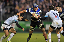 Leroy Houston of Bath Rugby takes on the Montpellier defence - Photo mandatory by-line: Patrick Khachfe/JMP - Mobile: 07966 386802 12/12/2014 - SPORT - RUGBY UNION - Bath - The Recreation Ground - Bath Rugby v Montpellier - European Rugby Champions Cup
