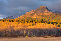 Dawn on the Rocky Mountain Front Ranges of Glacier National Park Montana USA