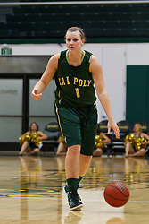 Nov 16, 2011; San Francisco CA, USA;  Cal Poly Mustangs guard Kayla Griffin (1) dribbles the ball up court against the San Francisco Lady Dons during the first half at War Memorial Gym.  Cal Poly defeated San Francisco 80-66. Mandatory Credit: Jason O. Watson-US PRESSWIRE
