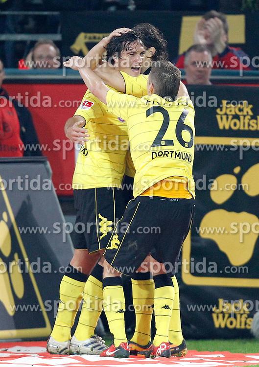 22.09.2010, Signal Iduna Park, Dortmund, GER, 1.FBL,  Borussia Dortmund vs 1. FC Kaiserslautern, im Bild: Lukasz Piszczek (Dortmund POL #26) gratuliert Mats Julian Hummels (Dortmund GER #15) zu dessen 3:0 Tor, dahinter ist verdeckt Neven Subotic (Dortmund USA/BIH #4), EXPA Pictures © 2010, PhotoCredit: EXPA/ nph/  Scholz+++++ ATTENTION - OUT OF GER +++++ / SPORTIDA PHOTO AGENCY
