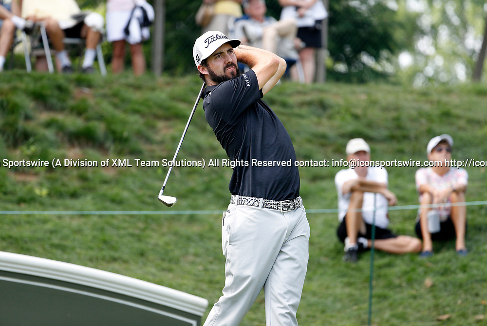 CROMWELL, CT - JUNE 23: Mark Hubbard hits from the 17th tee during the second round of the Travelers Championship on June 23, 2017, at TPC River Highlands in Cromwell, Connecticut. (Photo by Fred Kfoury III/Icon Sportswire)