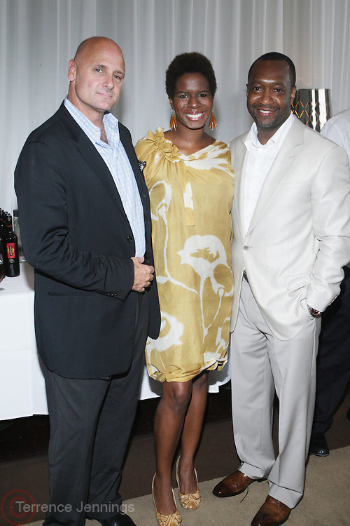 l to r: J.P. Oliver, Tangie Murray and Jeff Friday at The ABFF Luncheon Hosted by HSBC and Rush Philanthropic Arts held at The Delano in Miami Beach on June 27, 2009..The American Black Film Festival is an industry retreat and competitve marketplace for films and by and about people of color.